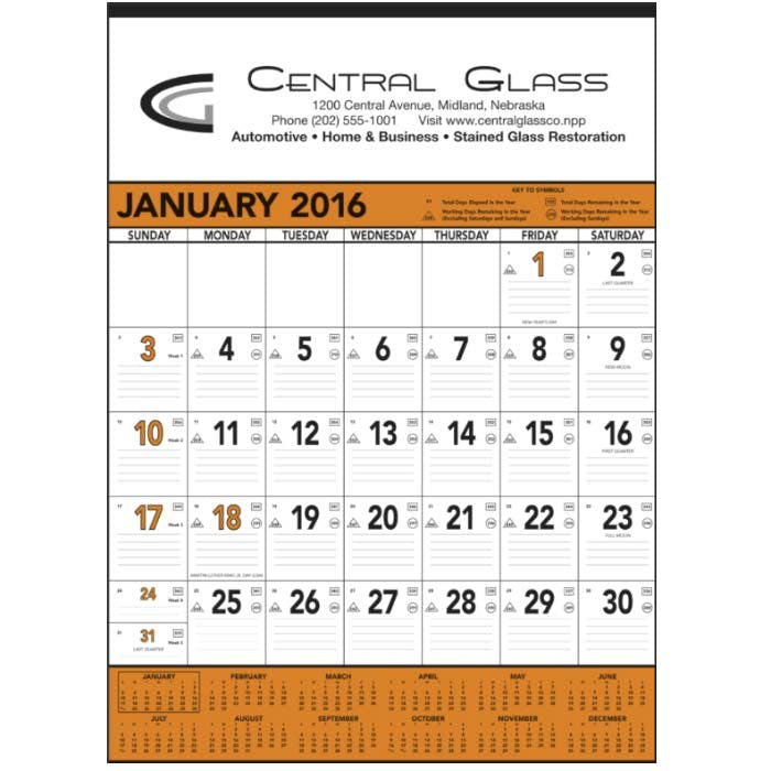 Norwood Promotional Products :: Product :: Orange & Black Contractor's Memo (13-sheet) Custom calendar sold by Distrimatics, USA