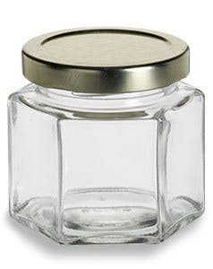 4 oz Hexagon Squad Glass Jar with Lid (120 ml) - sold by Nakpunar